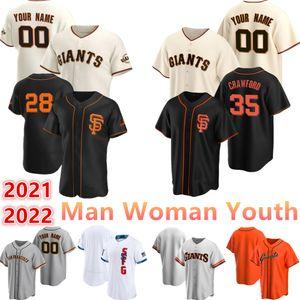 2021 Benutzerdefinierte Giganten 28 Buster Posey Jersey 29 Jeff Samardzija 35 Brandon Crawford 5 Mike Yastrzemski Mann Frau Jugend Baseball Trikots