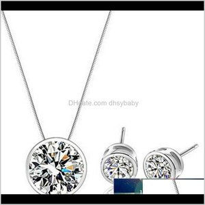 & Necklace Arrival High Quality 925 Sterling Sier Shiny Stone Female Jewelry Set Stud Earrings Pendant Necklaces Vvjui C4Dlf