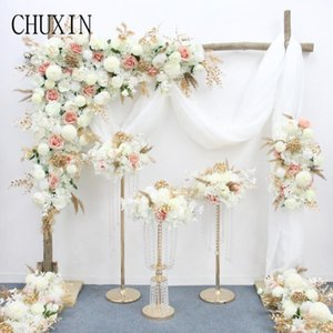 Golden Flower Runner Wedding Row Arches Decor For Banquet Pography Layout Customizable Luxury Decorative Flowers & Wreaths
