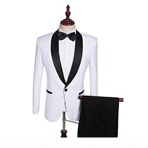 White Groom Wear Groomsmen Suits 2019 Modest Slim Fit Mens Business Suit Jacket + Pants + Bowtie Men's Suits Wedding Suits Groom Ebelz