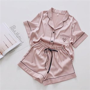 Womens Sleepwears Pajamas For Women Silk Home Wear Short Sleeve Loungewear Pyjamas Pijama Sleepwear Pj Set Satin Nightwear