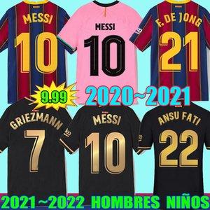 21 22 Maglia da calcio Barcellona BARCA camiseta de futbol ANSU FATI 2021 2022 MESSI GRIEZMANN F.DE JONG Maillots maglie da calcio uomo kit per bambini Uniformi
