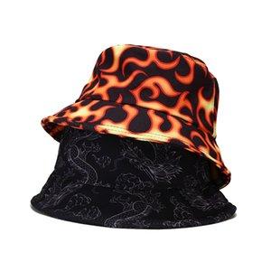 Cappello aderente Fashion Harajuku Secchio reversibile Cappello Cappello antincendio Dye Butterfly Cloud Dragon Stampa Pescatore Cappello Panama Bob Chapeau Uomini