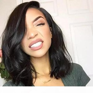 Bob Lace Front Human Hair Wigs Short With Baby Hair Brazilian Virgin Hair Short Wave Hairstyles Full Lace Bob Wig For Black Women