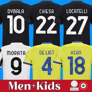 Dybala Chiesa 21 22 축구 유니폼 Locatelli Kean Kaio Jorge Morata Kulusevski 축구 셔츠 드 Ligt Juventus Camiseta Fútbol 2021 2022 Maillot 발