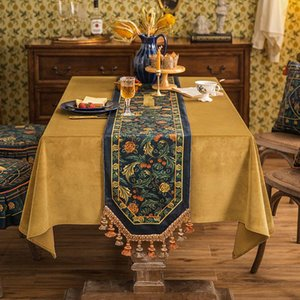 Spring Table Runner Bed Flag Red European Style Light Luxury TV Cabinet Dining Side Long Decorative Cloth Curtain & Drapes
