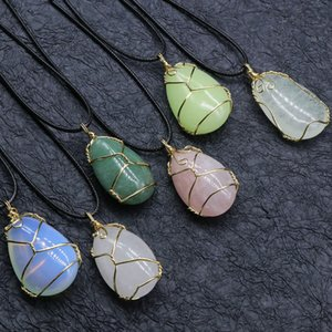 Gold Copper Wire Wrap Natural Stone Oval Teardrop Pendant Reiki Healing Crystal Necklace Pink Quartz Chakras Pendulo Jewelry