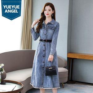 2020 Autumn New Women Mid Calf Long Dress Vintage Office Ladies Belted Slim Fit Long Sleeve Tassels Single Breasted Denim Dress