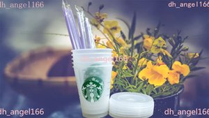 200 pieces of Starbucks 16oz plastic tumbler , reusable, transparent drinking flat, column covered sippy, free delivery by Bardian