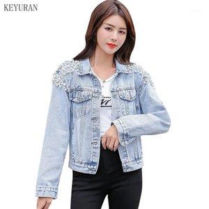 2020 perles d'automne perles veste en jean femmes femmes vintage single poitrine manches longues poches streetwear short jean manteaux 41421
