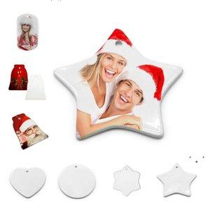 DIY Sublimation Blank Ceramic Pendant Christmas Decorations Heat Transfer Printing Ceramics Ornament 10 styles OWB10529