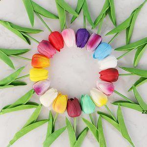 Mini PU plastic tulip simulation fake flower cross-border wedding home decoration flowers factory wholesale 18 colors HWD7451