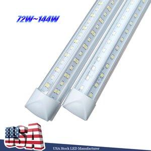 V-Shaped 2ft 3ft 4ft 5ft 6ft 8ft Cooler Door Led Tubes Lighting T8 Integrated Double Sides Lights 85-265V bulbs Stock in US