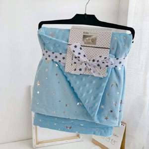 Kids Blankets Flannel Coral Comfort Nap Blanket Soft Air Conditioning Blanket Stars Printed Kindergarten Quilt 110*150cm ZZE4975