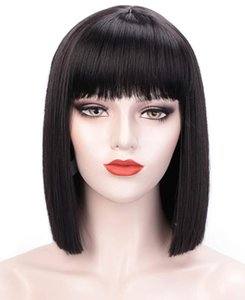 Synthetic Wigs Boymia Wine Red Bob For Women Short Burgundy Hair Wig With Bangs Natural Fashion Cute Heat Resistant Par