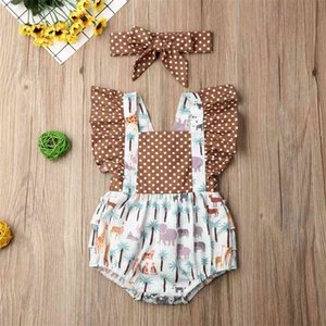0-24M Summer Kid Baby Girl Rompers Animal Print Short Sleeve Ruffle Romper Jumpsuits+Headband Clothes Kids Clothes Gift