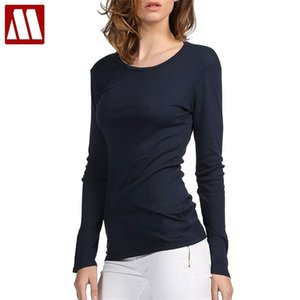 MyDBSH 브랜드 면화 여성 스트레치 티셔츠 셔츠 탑 티셔츠 티셔츠 캐주얼 솔리드 티셔츠 유럽 및 미국 스타일 210401