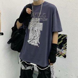Мужская с коротким рукавом весна и летняя темная высокая улица хип-хоп танцевальная негабаритная печатная футболка