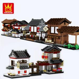 Китай Вид улицы Совместимая архитектура Городская еда магазин Дом обедают ресторан модель здания блоки кирпичи игрушки