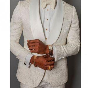 Herrenanzüge Blazers Maßgeschneiderte Männer Elfenbein Muster Bräutigam Tuxedos Schal Satin Revers Groomsmänner Hochzeit Mann 2 Stück (Jacke + Pants + Ki62