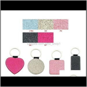 Other Festive Party Supplies Sublimation Blank Pu Leather Keychains Heart Round Square Rec Key Ring Glitter Transfer Printing Sea Zzc4 9Whyc