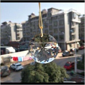 Decorations 1Pc Bling Suncatcher Round Glass Art Sun Charm Crystal Pendant Hanging Drop Lamp Prism Part Diy 45Mm Home Decor H Wmtijs Y Pjtlc