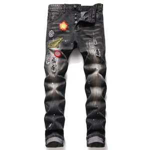 Men Slim Fit Ripped Jeans Badge Hole Destroyed Skinny Straight Leg Washed Mens Frayed Motocycle Denim Pants Hip Hop Stretch Biker Men's Distressed Trousers 1206