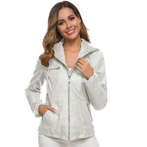 여성 디자이너 옷 2020 패션 대형 숙녀 긴팔 레이디 가죽 자켓 짧은 가죽 자켓 탈착식 모자 여성 자켓