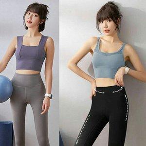 T-shirts de Yoga Femme Sports T-shirt Push Up Gilet Fitness Running Gym T-shirts Réservoir Sous-vêtement Sous-vêtement Cami Color Solid 12 N46D #