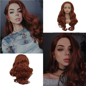 Synthetic Wigs Melody Wig Long Ash Copper Red Wavy Lace Front Heat Resistant Fiber Natural Hairline Little Mermaid Hair