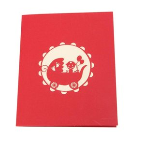 Greeting Cards 3D Baby CarriagesGreeting Card Up Paper Cut Postcard Birthday Party Gift B0KB
