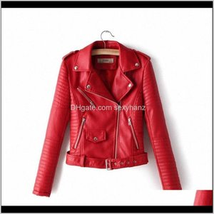 Outerwear & Womens Clothing Apparel Delivery 2021 Women Faux Leather Jacket Autumn Short Coats Spring Female Clothes S-Xl Belt Zipper Pocket