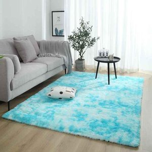 Carpets Long Hair Plush Large Bedside Tie-dyeing Fluffy Area Rug For Home Living Room Non-slip Warm Bay Window Silky Floor Mats