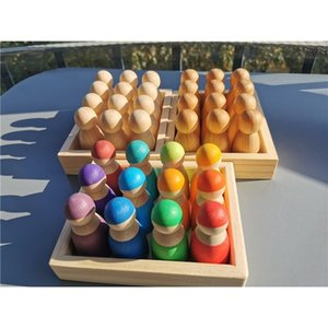 12pcs Baby Wooden Toys Rainbow Color Sort BassWood Dolls  Matte Finish Pegdoll in Tray Blocks for kids Montessori Play R0409