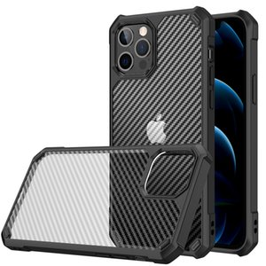 Translucent Case Carbon Fiber Back Cover for Samsung S21-Plus S21-Ultra Note 20 iPhone 12 Pro Max 11 XS-Max XR 7 8 Plus