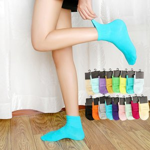 Fashion Middle Socks Candy Solid Colors Cotton Woman Mens Sock Street-style Lady Sports Basketball Soccer Skateboarding with Tags