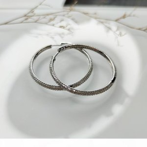 Recommend 46 mm Large Real Sterling Silver Hoop Earring Micro pave Tiny crystal Jewelry Jewellery Big 925 Silver Circle Earrings
