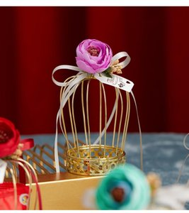 20pcs Wedding Crown Gift Box Tinplate Birdcage Candy Chocolate Baby Favor Boxes Flower Packaging Bags Party Supplie Wrap