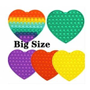 DHL 24H Ship Tiktok Big Size Big Size Colorful Push Pops Fidget Bubble Sensory Squishy Stress Stress Reliever Autism Ha bisogno Anti-stress Pop-It Rainbow Giocattoli per adulti
