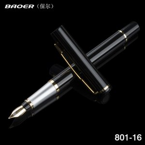 Stationery Baoer Luxury Metla Gift Pen 0.5mm Extra Fine Nib Fountain Black Ink Pens Christmas