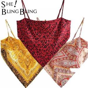 Retro Paisley Print Irregular Hem Bow Tie Back Women Camisole Fashion Casual Leopard Satin Camis Female Crop Tops 210523