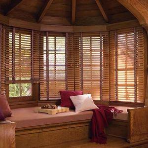 Blinds Wooden Window Shutter Ladder Tape Eco-friendly Sun Shades Brown Venetian For Tearoom Store Home Living Room
