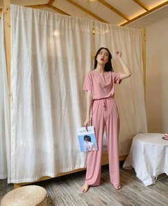 2021 net red ice silk soft suit fashion leisure spring new home clothes T-shirt wide leg pants two piece set