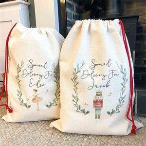 DIY Blank Plain White Sublimation Drawstring Bag Christmas Gift Packing Thermal Heat Printing Linen Hand Bags Kids Halloween Candy Bags 2022 Easter Basket H927VTKI