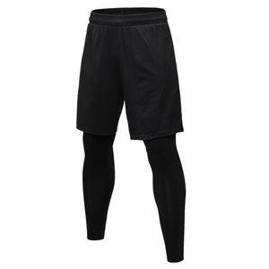 New False Two Compression Panty Leggings Fitness Exercises Joggers Long Broek Men Bodybuilding Sports Schools Drags