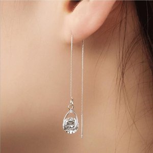 Everoyal Trendy Female Crystal Long Tassel Earrings For Girls Jewelry Fashion 925 Sterling Silver Earring Women Valentine's Day Dangle & Cha