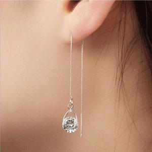 Everoyal Trendy Female Crystal Long Tassel Earrings For Girls Jewelry Fashion 925 Sterling Silver Earring Women Valentine's Day Dangle & Cha