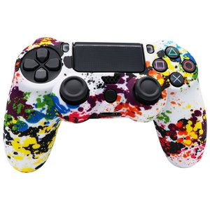 Camouflage Silicon Case Cover Sockproof Camo Protective Rubber Skin Colorful Protector for Sony PS4 Wireless Controllers Play Station Game