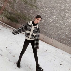 Women's Jackets coats Ouyang Nana same top autumn winter black and white check small fragrance knitting cardigan versatile jacket QK40