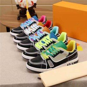 2021 L Tasarımcı Erkekler Rahat Ayakkabılar Sneaker Adam High-end Gökkuşağı Renkli Kurulu Ayakkabı Deri Çok Renkli Ekleme Nefes KUTUSU Boyutu 38-44 ile Rahat